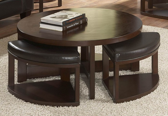 Brussel II Round Cocktail Table with 4 Ottomans