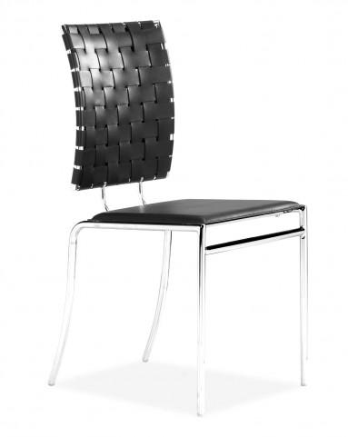 Criss Cross Dining Chair Black Set of 4