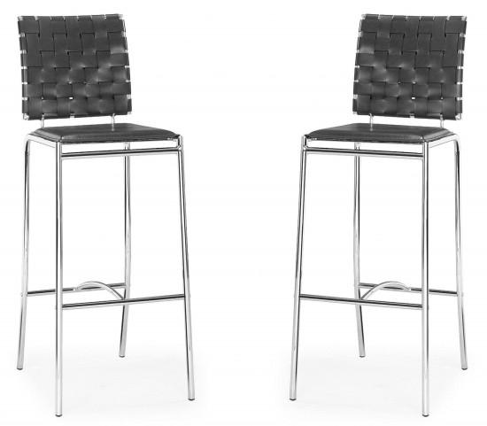 Criss Cross Bar Chair Espresso Set of 2