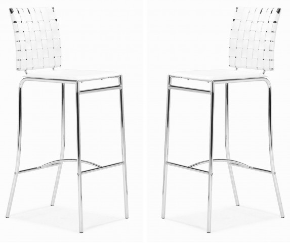 Criss Cross Bar Chair White Set of 2