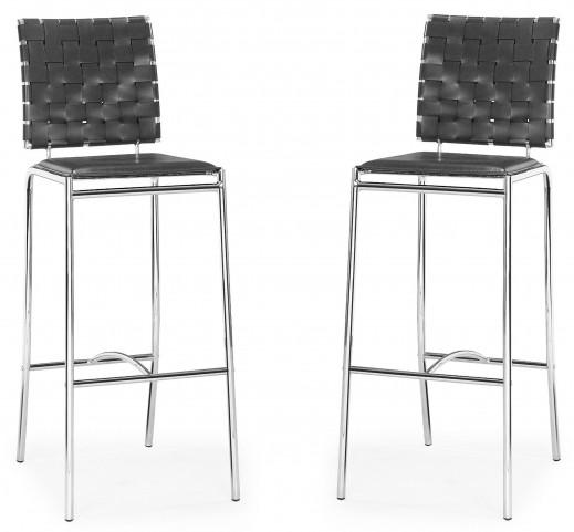 Criss Cross Black Bar Chair Set of 2