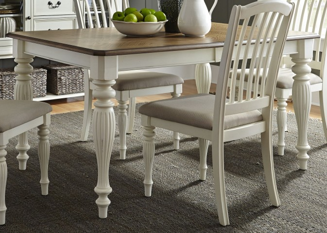 Cumberland Creek Nutmeg and White Extendable Rectangular Leg Dining Table