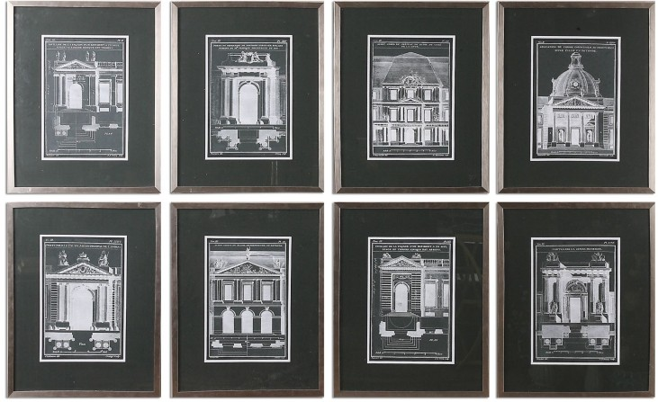 Architecturals Vintage Art Set of 8