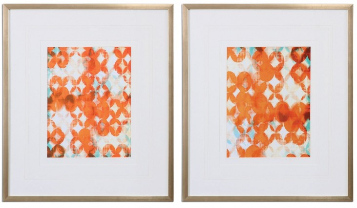 Overlapping Teal And Orange Modern Art Set of 2