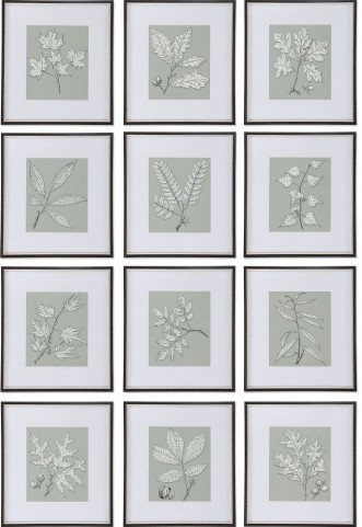 Leaves On Taupe Set of 12