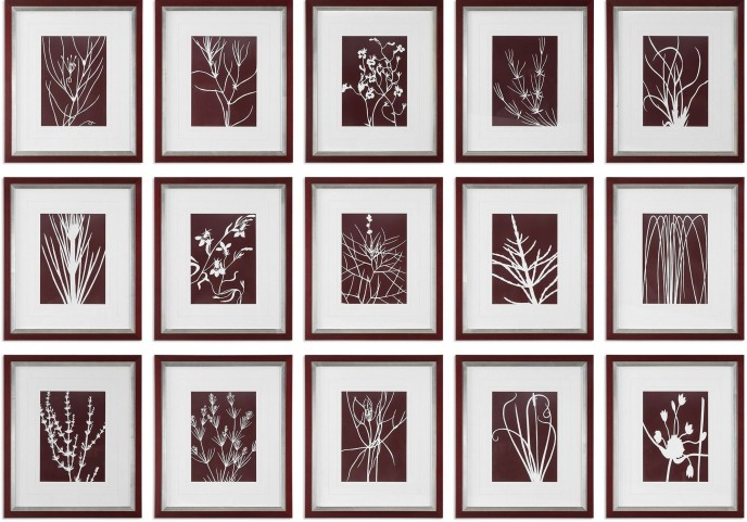 Abstract Marsala Floral Prints Set of 15