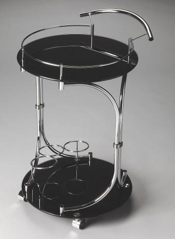 Lola Black Glass Serving Cart