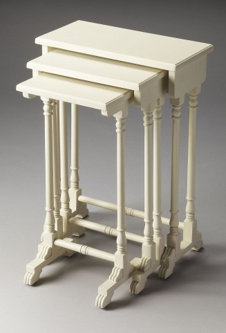 Dunham Plantation Cherry Cottage White Nesting Tables