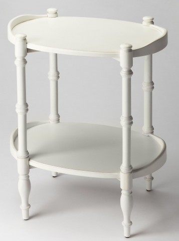 Plantation Cherry Kirsten Cottage White Oval Side Table