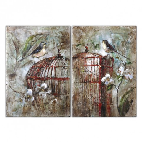 Birds In A Cage Canvas Art Set of 2