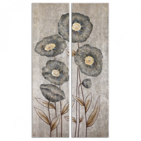 Graceful Flowers Hand Painted Art Set of 2