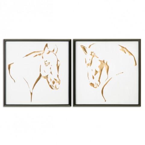 Golden Horses Framed Art Set of 2