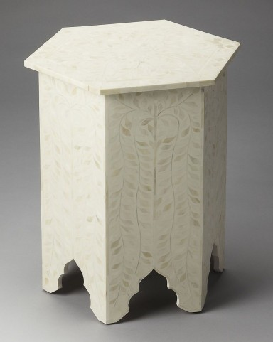 3445325 White Bone Inlay Accent Table