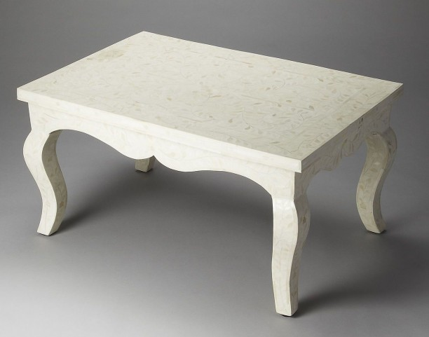 White Bone Inlay Cocktail Table