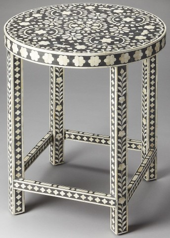 3448318 Black Bone Inlay Accent Table