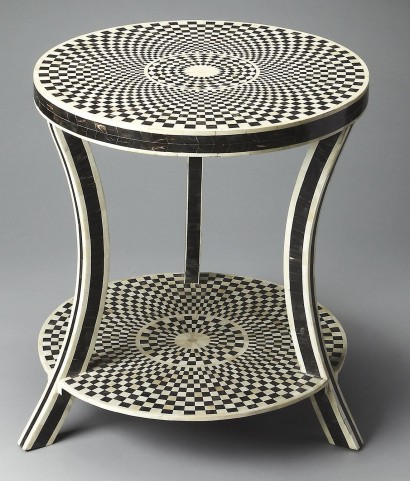 3462318 Black Bone Inlay Accent Table