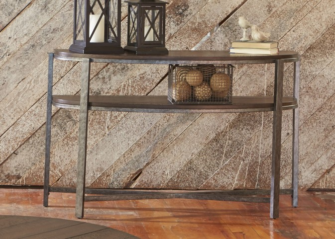 Breckinridge Mahogany Spice with Pewter Metal Demilune Sofa Table