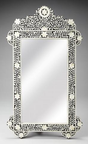 3481318 Black Bone Inlay Wall Mirror