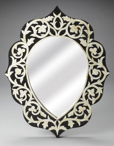 3483318 Black Bone Inlay Wall Mirror