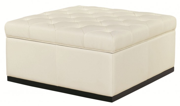Noah Tufted Cream Storage Ottoman