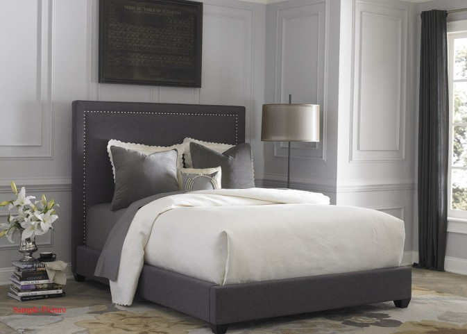 Dark Gray Upholstered King Panel Bed