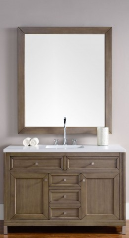 "Chicago 48"" White Washed Walnut Single Vanity With 3Cm Snow White Quartz Top"