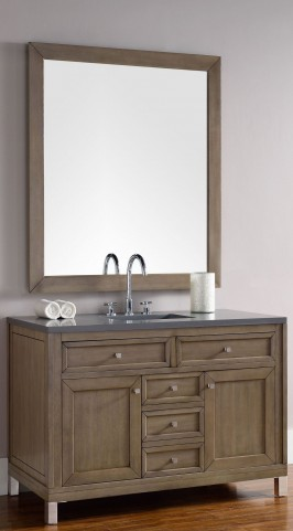 "Chicago 48"" White Washed Walnut Single Vanity With 3Cm Shadow Gray Quartz Top"