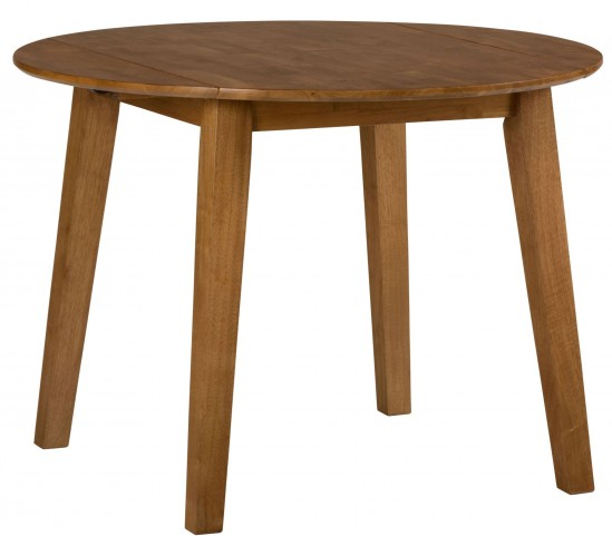 Simplicity Honey Extendable Round Drop-Leaf Dining Table