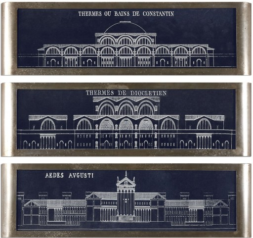Architectural Blueprints Art Set of 3