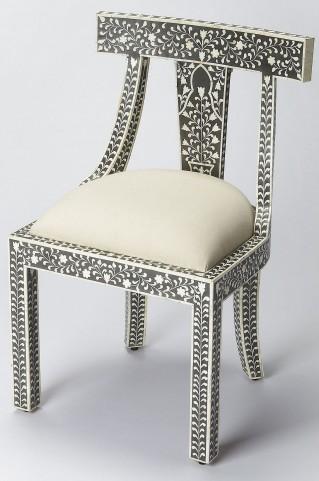 Bone Inlay Black Accent Chair