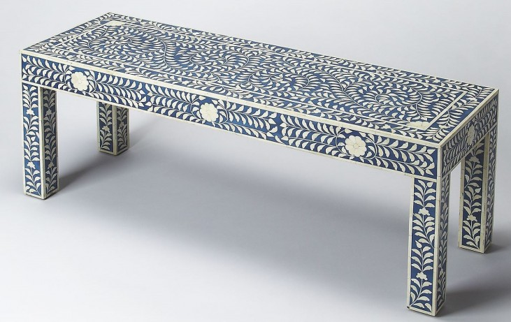 Bone Inlay Blue Bench