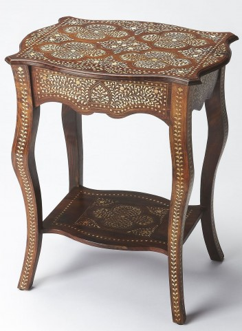 Bone Inlay Wood Side Table