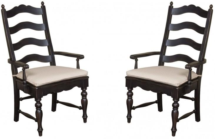 Homecoming Vintage Pine Ladderback Black Arm Chair Set of 2