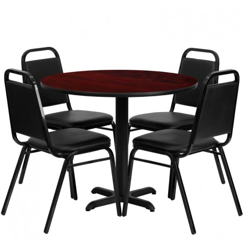 "36"" Round Mahogany Table Set with Black Trapezoidal Back Banquet Chairs"