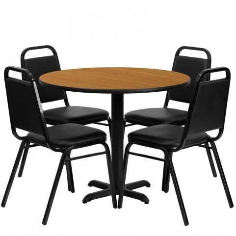 "36"" Round Natural Table Set with Black Trapezoidal Back Banquet Chairs ("