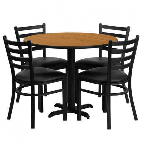 "36"" Round Natural Table Set with Ladder Back Black Vinyl Chair"