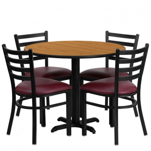 "36"" Round Natural Table Set with Ladder Back Burgundy Vinyl Chair"