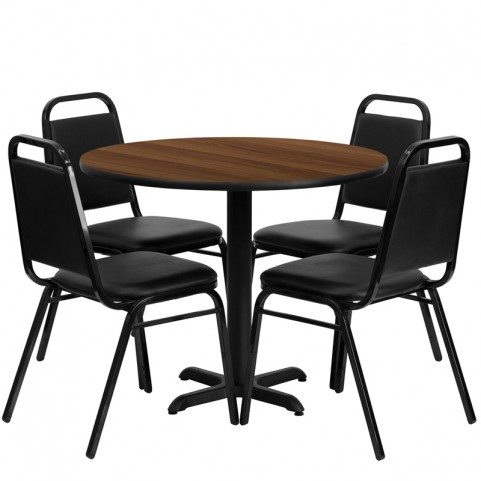 "36"" Round Walnut Table Set with Black Trapezoidal Back Banquet Chairs"