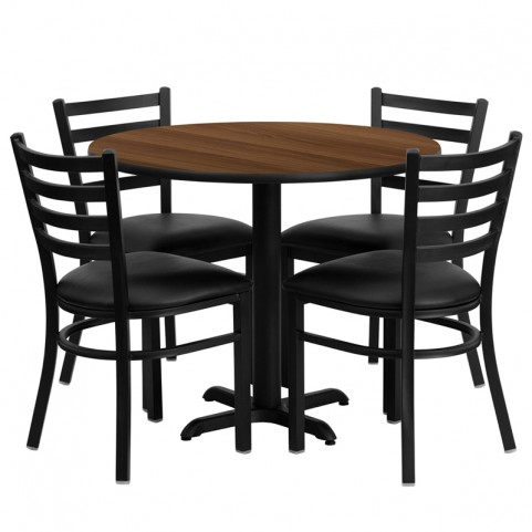 "36"" Round Walnut Table Set with Ladder Back Black Vinyl Chair"