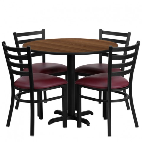"36"" Round Walnut Table Set with Ladder Back Burgundy Vinyl Chair"
