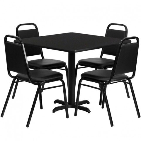 "36"" Square Black Table Set with Black Trapezoidal Back Banquet Chairs"