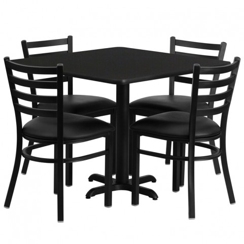 "36"" Square Black Table Set with Ladder Back Black Vinyl Chair"