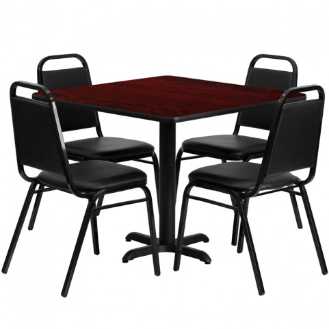 "36"" Square Mahogany Table Set with Black Trapezoidal Back Banquet Chairs"
