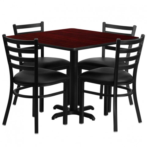 "36"" Square Mahogany Table Set with Ladder Back Black Vinyl Chair"