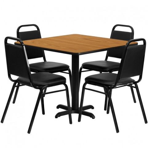 "36"" Square Natural Table Set with Black Trapezoidal Back Banquet Chairs"