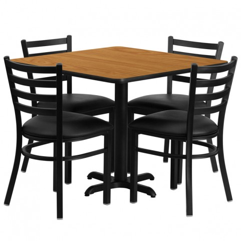 "36"" Square Natural Table Set with Ladder Back Black Vinyl Chair"