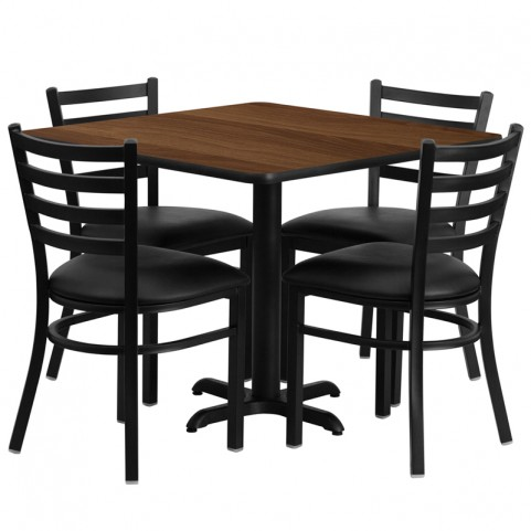 "36"" Square Walnut Table Set with Ladder Back Black Vinyl Chair"