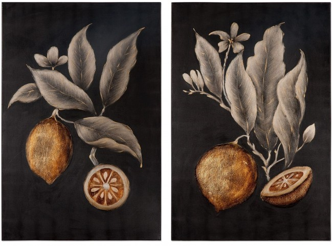 Citrus Study Hand Painted Art Set of 2