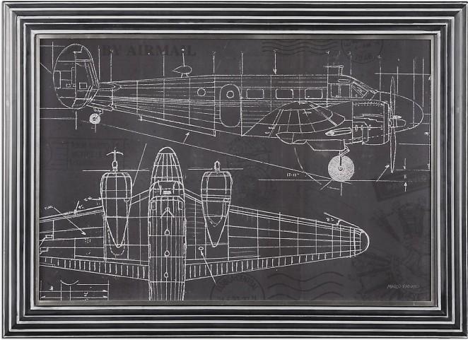 Plane Blueprint Art