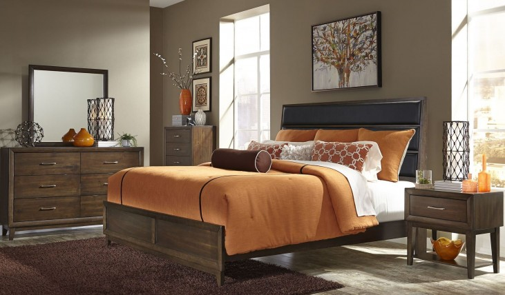 Hudson Square Espresso Upholstered Platform Bedroom Set